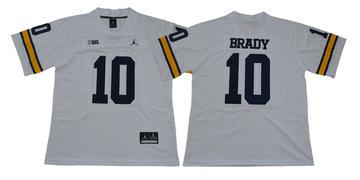 Michigan Wolverines 10 Tom Brady White College Football Jersey