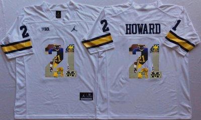 Michigan Wolverines 21 Desmond Howard White Portrait Number College Jersey