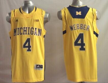 Michigan Wolverines 4 Chris Webber Yellow College Basketball Jersey