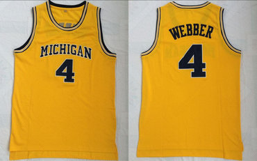 Michigan Wolverines 4 Chris Webber Yellow Mesh College Basketball Jersey