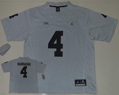 Michigan Wolverines 4 Jim Harbaugh Grey College Football Jersey