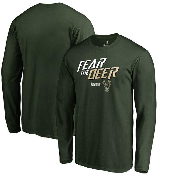 Milwaukee Bucks Fanatics Branded 2018 NBA Playoffs Slogan Long Sleeve T-Shirt Green