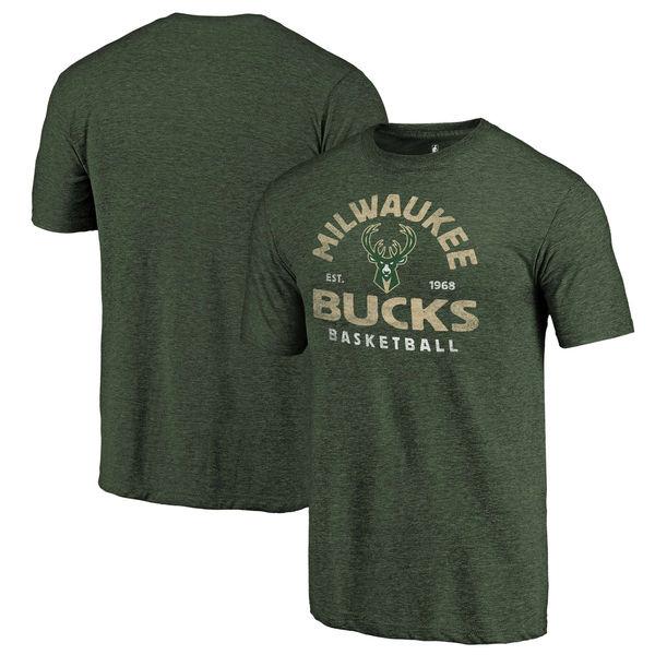 Milwaukee Bucks Fanatics Branded Hunter Green Vintage Arch Tri-Blend T-Shirt