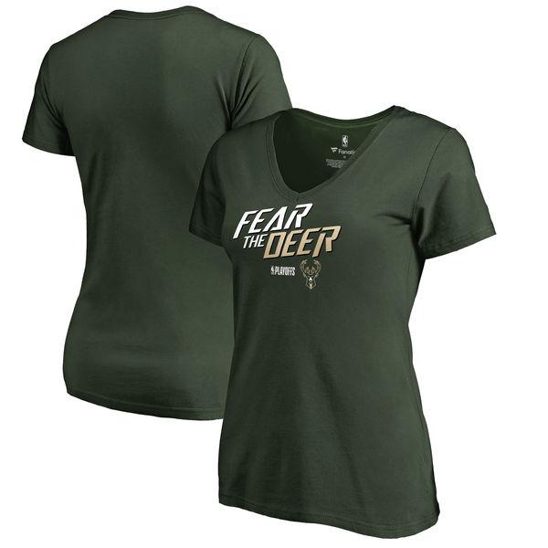 Milwaukee Bucks Fanatics Branded Women's 2018 NBA Playoffs Slogan V Neck T-Shirt Green