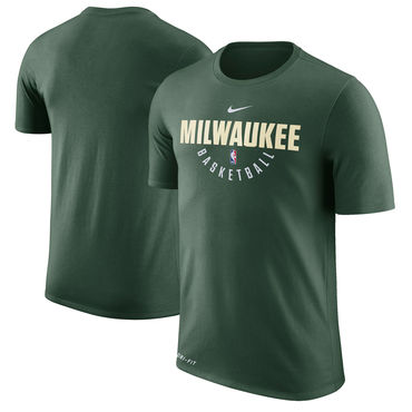 Milwaukee Bucks Hunter Green Nike Practice Performance T-Shirt