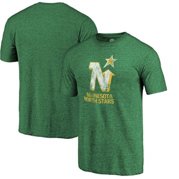 Minnesota North Stars Kelly Green Distressed Throwback Primary Logo Tri Blend T-Shirt