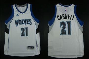 Minnesota Timberwolves #21 Kevin Garnett White Home Stitched NBA Jersey