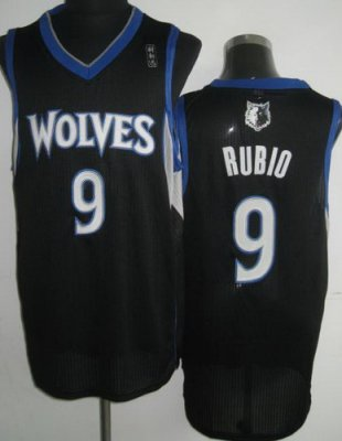 Minnesota Timberwolves 9 Ricky Rubio Black Revolution 30 NBA Jerseys