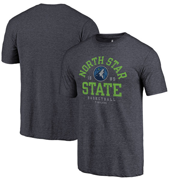 Minnesota Timberwolves Fanatics Branded Navy North Star State Hometown Collection Tri-Blend T-Shirt