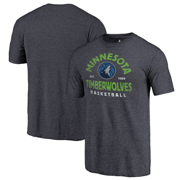 Minnesota Timberwolves Fanatics Branded Navy Vintage Arch Tri-Blend T-Shirt