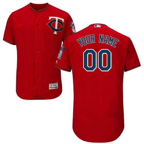Minnesota Twins Red Men's Customized Flexbase Jersey