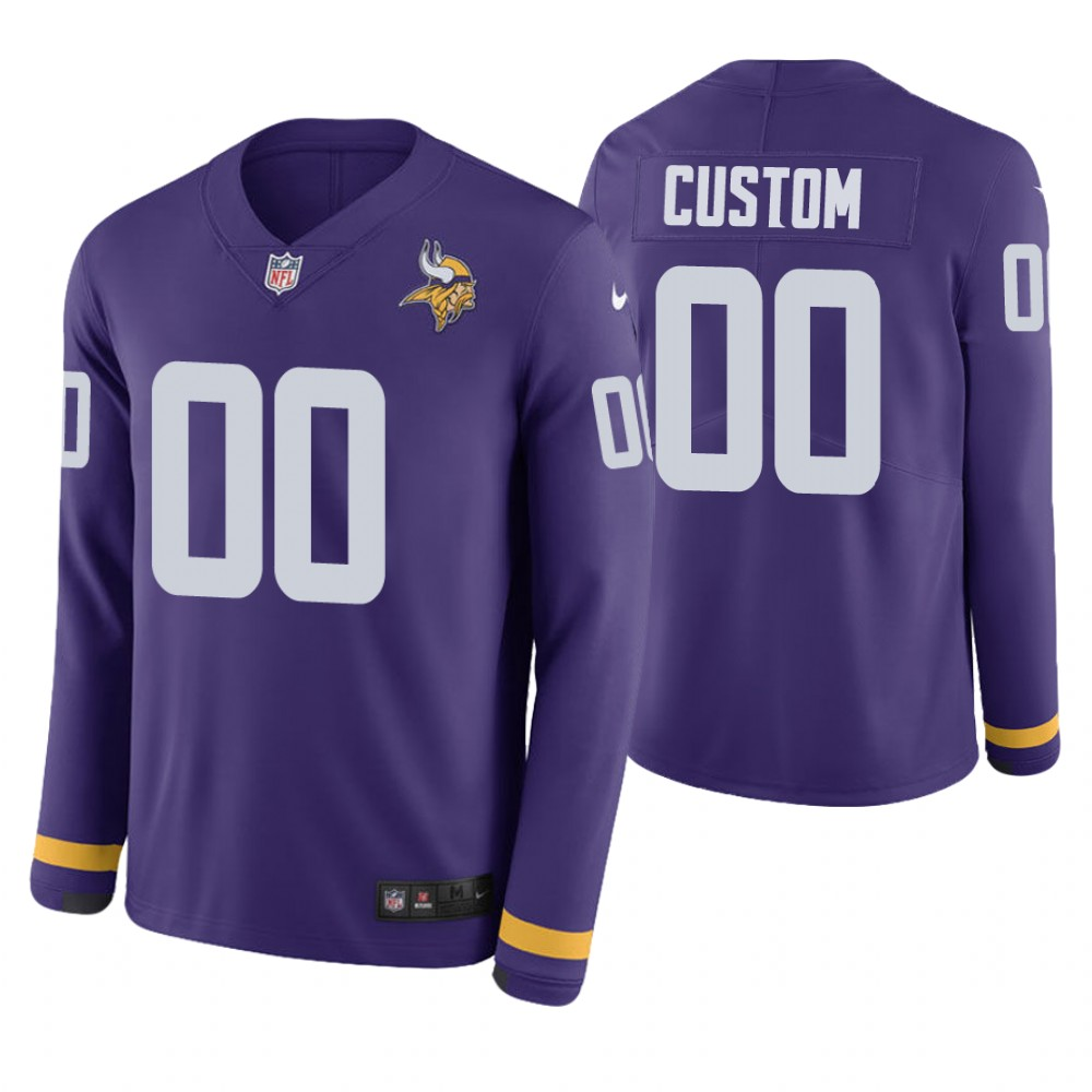 Minnesota Vikings Custom Purple Therma Long Sleeve Jersey