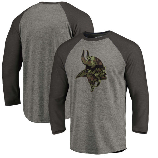 Minnesota Vikings NFL Pro Line By Fanatics Branded Black Gray Tri Blend 34-Sleeve T-Shirt