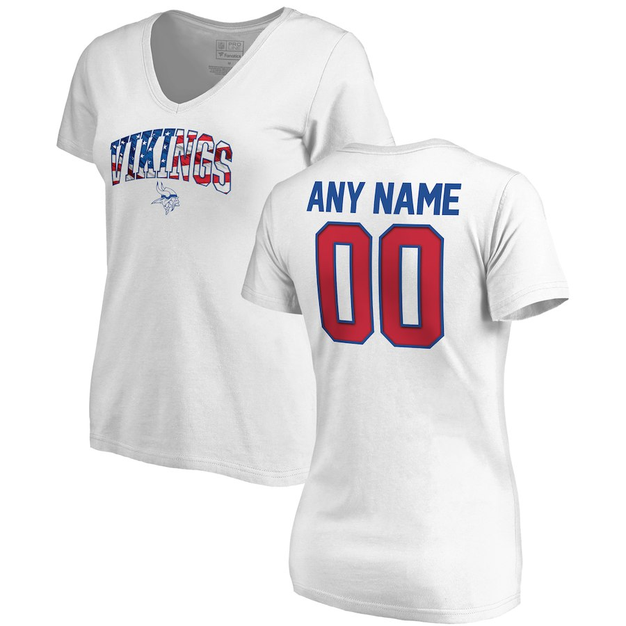 Minnesota Vikings NFL Pro Line By Fanatics Branded Women's Any Name & Number Banner Wave V Neck T-Shirt White
