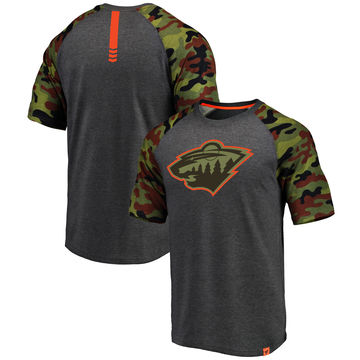 Minnesota Wild Fanatics Branded Heathered Gray Camo Recon Camo Raglan T-Shirt