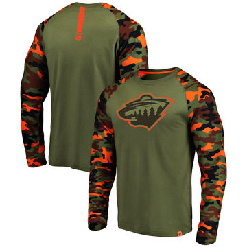 Minnesota Wild Fanatics Branded Olive Camo Recon Long Sleeve Raglan T-Shirt