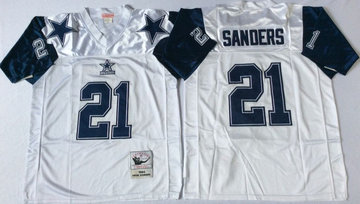 Mitchell&Ness cowboys  #21 Deion Sanders Throwback Stitched NFL Jersey