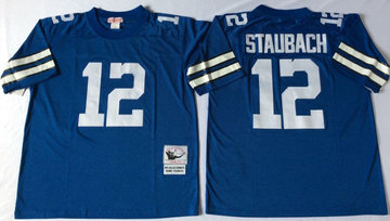 Mitchell&Ness cowboys #12 Roger Staubach blue Throwback Stitched NFL Jerseys