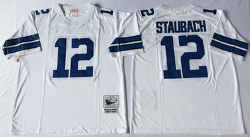 Mitchell&Ness cowboys #12 Roger Staubach white  Throwback Stitched NFL Jersey