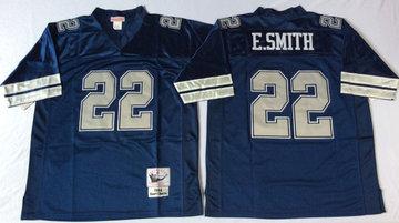 Mitchell&Ness cowboys #22 Emmitt Smith blue Throwback Stitched NFL Jerseys