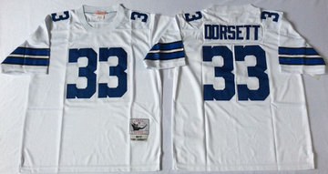 Mitchell&Ness cowboys #33 Tony Dorsett white Throwback Stitched NFL Jersey