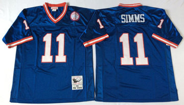 Mitchell&Ness giants #11 Phil Simms blue Throwback Stitched NFL Jerseys