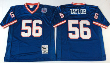 Mitchell&Ness giants #56 Lawrence Taylor  blue Throwback Stitched NFL Jerseys