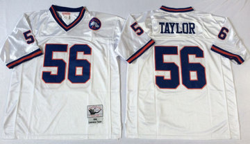 Mitchell&Ness giants #56 Lawrence Taylor  white Throwback Stitched NFL Jerseys