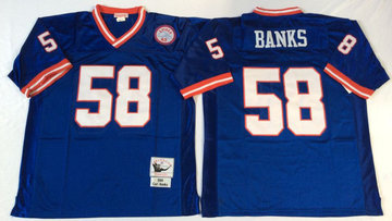 Mitchell&Ness giants #58 BANKS blue Throwback Stitched NFL Jerseys