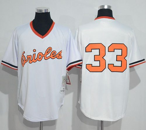 Mitchell And Ness 1985 Orioles #33 Eddie Murray White Throwback Stitched MLB Jersey