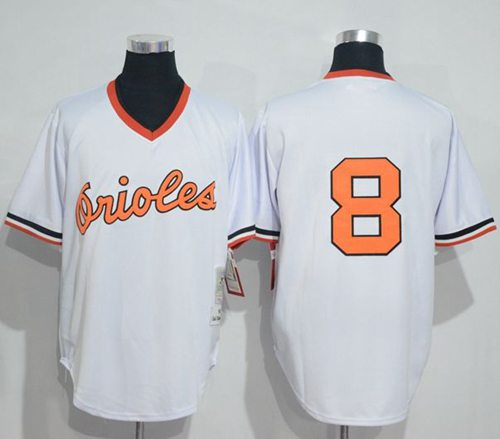 Mitchell And Ness 1985 Orioles #8 Cal Ripken White Throwback Stitched MLB Jersey