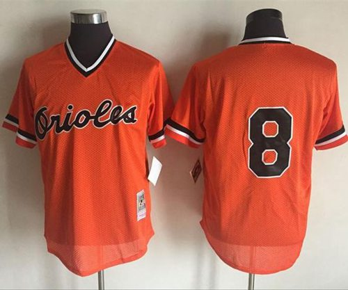 Mitchell And Ness 1988 Orioles #8 Cal Ripken Orange Throwback Stitched MLB Jersey