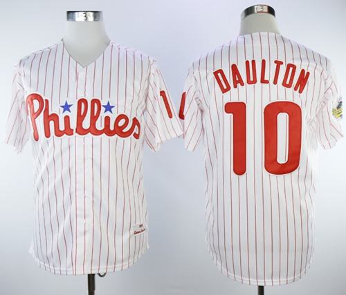Mitchell And Ness 1993 Phillies #10 Darren Daulton White(Red Strip) Throwback Stitched MLB Jersey