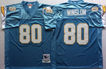 Mitchell And Ness 1994 Chargers #80 Kellen Winslow  Blue Throwback Stitched NFL Jersey