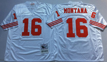Mitchell And Ness 49ers #16 joe montana white Men's  Throwback Stitched NFL Jersey