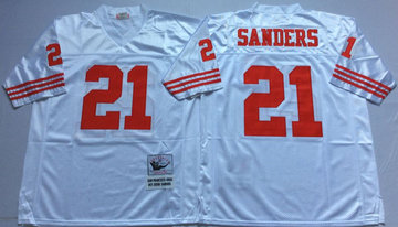 Mitchell And Ness 49ers #21 deion sanders  white Men's  Throwback Stitched NFL Jersey