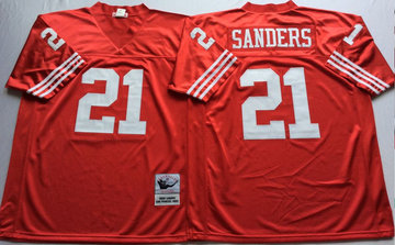 Mitchell And Ness 49ers #21 deion sanders red Men's  Throwback Stitched NFL Jersey