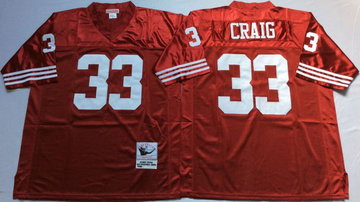 Mitchell And Ness 49ers #33 Roger Craig red Men's  Throwback Stitched NFL Jersey