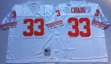 Mitchell And Ness 49ers #33 Roger Craig white Men's  Throwback Stitched NFL Jersey