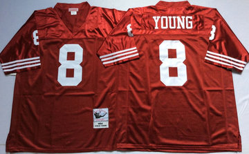 Mitchell And Ness 49ers #8 Steve Young Men's  Throwback Stitched NFL Jersey