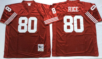 Mitchell And Ness 49ers #80 Jerry Rice red Men's  Throwback Stitched NFL Jersey