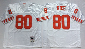 Mitchell And Ness 49ers #80 Jerry Rice white Men's  Throwback Stitched NFL Jersey