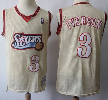 Mitchell And Ness 76ers #3 Allen Iverson Cream Throwback Stitched NBA Jersey