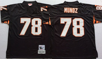 Mitchell And Ness Bengals #78 Anthony Munoz black Throwback Stitched NFL Jersey