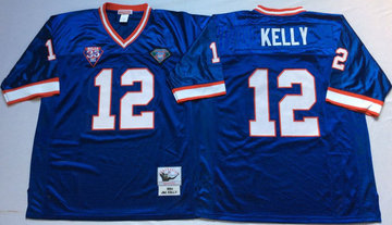 Mitchell And Ness Bills #12 Jim Kelly BLUE Throwback Stitched NFL Jersey