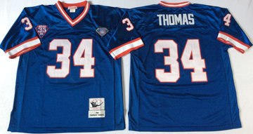Mitchell And Ness Bills #34 thurman thomas BLUE Throwback Stitched NFL Jersey