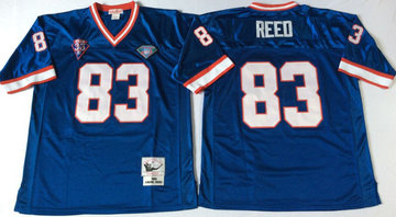 Mitchell And Ness Bills #83 andre reed BLUE Throwback Stitched NFL Jersey