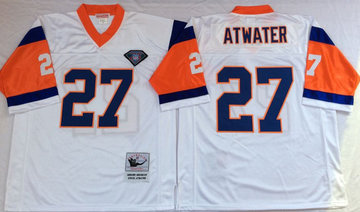 Mitchell And Ness Broncos  #27 knowshon moreno white Throwback Stitched NFL Jersey