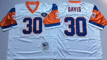 Mitchell And Ness Broncos  #30 terrell davis white Throwback Stitched NFL Jersey