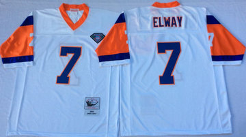 Mitchell And Ness Broncos  #7 john elway white Throwback Stitched NFL Jersey